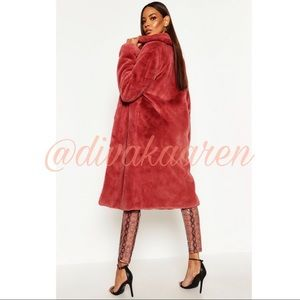FAUX FUR Notched Collar Lined Fur Coat Size 6 - 12